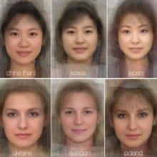 """英科学家绘制全球41个国家女性""""平均脸"""""""